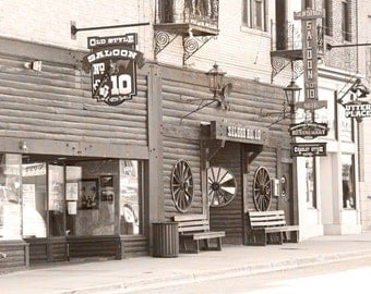 Old West Photography Deadwood Old Saloon Number 10 Old Wild Bill Hickok South Dakota Brown Photograph 5 x 7 Sepia Fine Art Photo