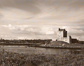 Dunguaire Castle, Ireland Photography, Galway Bay, Kinvara Ireland, Wall Decor, Sepia Style Print, Fine Art Photo 5 x 7 Photo Brown And Blue