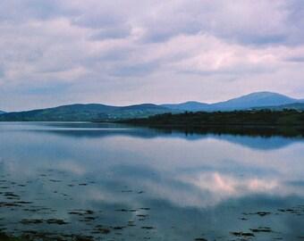 Irish Lake, Ireland Photography, Nature Print, Landscape Photo, Cloud Photograph, Fine Art, Blue And Silver, Wall Decor, Irish Evening