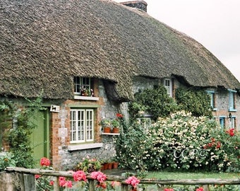 Irish Cottage Ireland Photography Green Door 5 x 7 Photo Thatched Cottage Wall Decor Fine Art Architecture Print Irish Decor Irish House