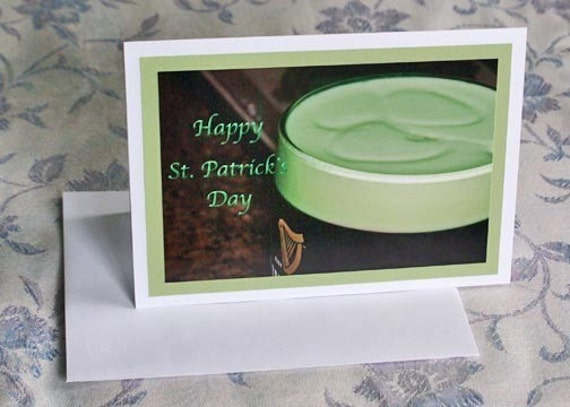 Happy St Patricks Day Card Greeting Card Shamrock Green Beer Photography Irish Card Saint Patricks Day Card Blank 5 x 7 Note Card