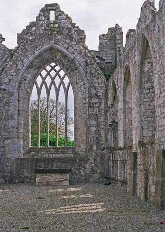 Irish Photography Ireland Cyber Monday Askeaton Abbey Architecture Decor 8x10 Gray And Green, Wall Decor, Irish Decor,  Fine Art Photo Print