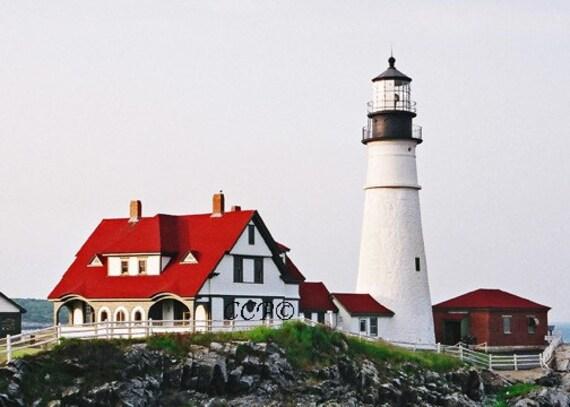 Portland Head Photo Lighthouse Coastal Print Nautical Maine Artwork Home Wall Decor Blue Red White Color