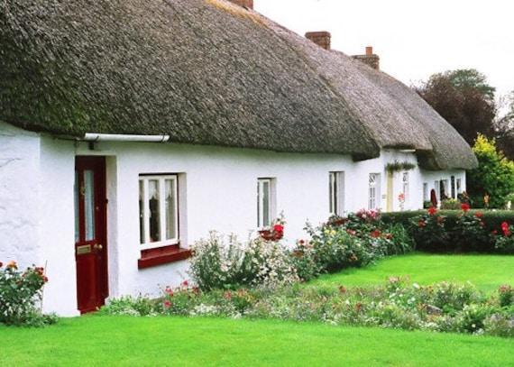 Irish Cottage White Thatched Cottage, Ireland Photography, Irish House, White House Landscape Photo, Ireland Decor, Wall Decor, Irish Print