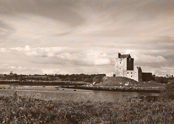 Dunguaire Castle, Ireland Photography, Galway Bay, Kinvara Ireland, Wall Decor, Sepia Style Print, Fine Art Photo 5 x 7 Photo Brown And Blue