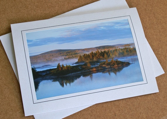 Trees And River, Dawn Photo,  Blank Greeting Card, River Photo Card, Landscape Card, Labrador Canada Card, All Occasion, Blue Morning Card