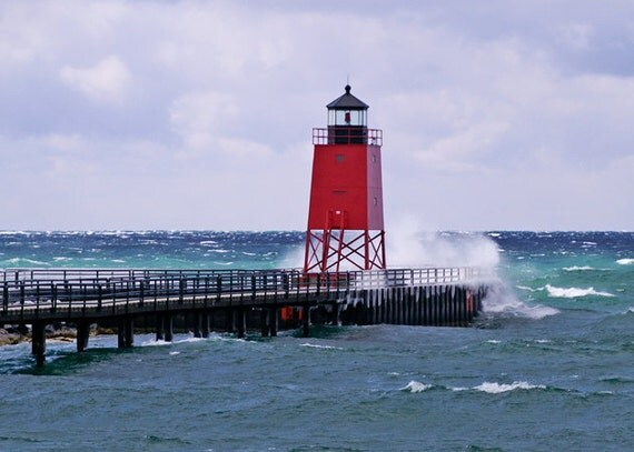 Charlevoix Red Lighthouse Lake Michigan Photo Nautical Print Winter Blue And Teal Silver Waves Fine Art Photography Wall Decor Den Decor