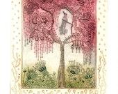 Poetree a handpulled etching by Mariann Johansen-Ellis