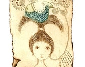 etching, Life, blue, fish, girl, pink, sepia, portrait, zentangle, printmaking, romantic art, home interior, girls room, poetry, fairy tale
