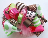 boutique FUNKY fun TRENDY CHEETAH hair bow clip