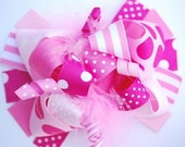 boutique FUNKY fun ALL PINK hair bow clip
