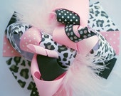boutique BLACK and light PINK LEOPARD funky fun hair bow clip