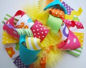boutique FUNKY fun BRIGHT and BOLD hair bow clip