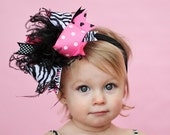 boutique ZEBRA DOLL ROCK over the top hair bow on a headband