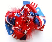 boutique PATRIOTIC 4th of July funky fun hair bow clip