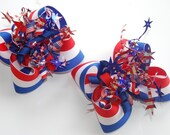 boutique LITTLE MISS FIRECRACKER 4th of July hair bow clippies