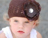 boutique BROWN crocheted sweater beanie hat with BROWN peony rhinestone flower clip