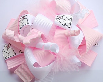 boutique FUNKY fun baby BUNNY hair bow clip