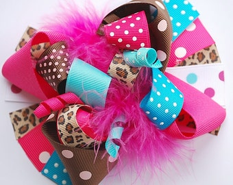 boutique FUNKY fun beautifully BOLD CHEETAH hair bow clip