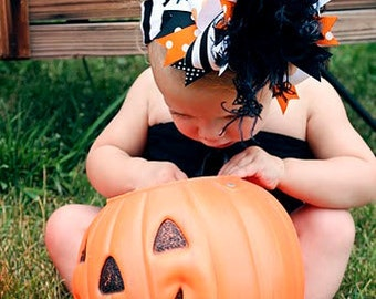 NEW boutique over the top CLASSIC HALLOWEEN hair bow with headband