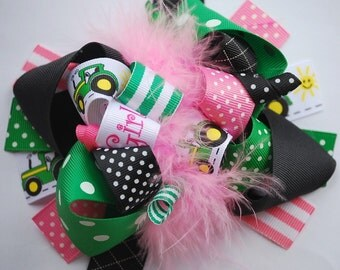 boutique FUNKY fun TRACTOR GIRL hair bow clip