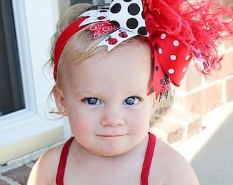 boutique LADYBUG OVER the TOP hair bow with headband