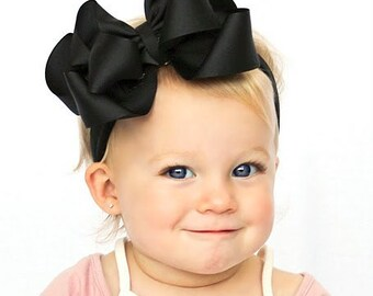 boutique double layered BIG BLACK hair bow on a headband