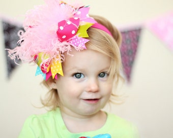 boutique SPRING FLING over the top hair bow with headband