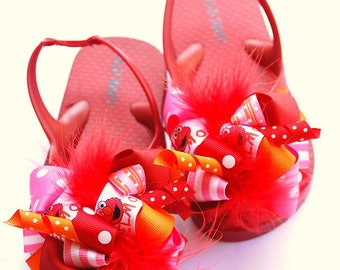 boutique FUNKY FUN elmo flip flops with attached bows