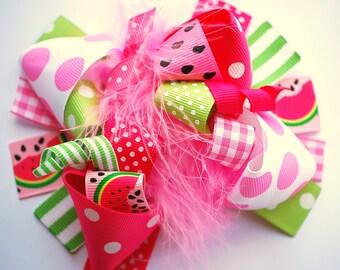 boutique FUNKY FUN pink WATERMELON hair bow clip