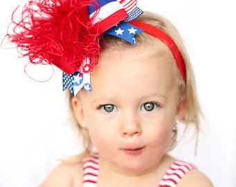 boutique ALL AMERICAN over the top hair bow on a headband