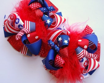 boutique ALL AMERICAN funky fun set of 2 hair bows on alligator clips