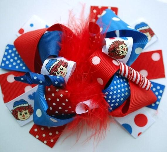 boutique FUNKY fun RAGGEDY ANN hair bow clip
