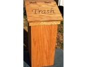 Kitchen trash can wood wooden wastebasket free personalized lid example mary's kitchen