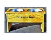 Raised dog bowl feeder 10 1/2  inches tall no cost for pet names