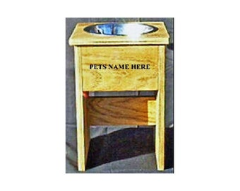 Raised elevated single dog bowl feeder 15 inches tall no cost for pet names