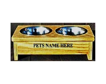 Raised elevated dog cat pet dish feeder 4 inches tall no cost for pet names