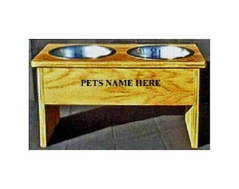 Raised elevated 12 inches tall dog bowl no cost for pet names