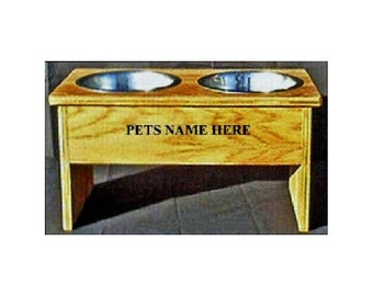 Elevated raised 12 inches tall dog bowl no cost for pet names