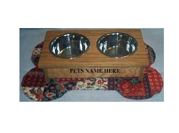 Elevated raised dog bowl feeder 6 inches tall no cost for names