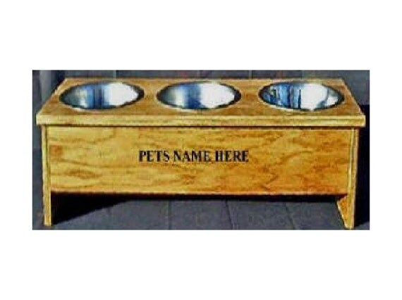 Elevated raised 3 dog bowl 8 inches tall no cost for pet names