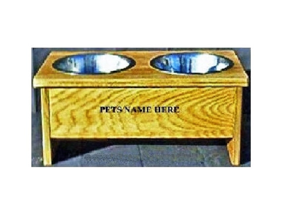Elevated raised dog bowl feeder 8 inches tall with free pet names on feeder