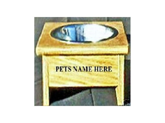 Raised elevated single dog bowl 8 inches tall no cost for pet names