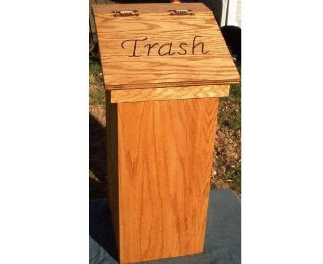 Kitchen trash can wood wooden wastebasket free by olewoodcrafter - Wooden kitchen trash can with lid ...