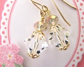 Crystal Drop Earrings. Champagne Crystal Accents. Gold Filled Ear Wires.