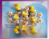 SALE Bear with Rubber Duckie Polymer Clay Scapbooking Charm