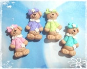 Bear with Pastel Polo Shirt Polymer Clay Charm Bead Scrapbooking Bow Center
