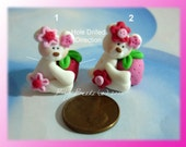 Strawberry Polar Bear Polymer Clay Charm Bead, Scrapbooking, Bow Center, Pendant, Cupcake topper, Magnet