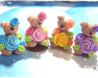 Bear with Rose Polymer Clay Charm Bead, Scrapbooking, Bow Center, Dangle