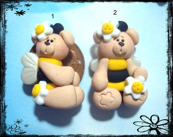 Bumble Bee Bear Polymer Clay Charm Bead Scrapbooking Bow Center